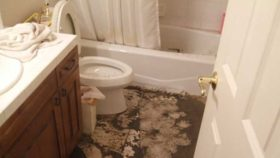 Image of a bathroom where the toilet and bathtub have sewer backup and it has covered the floor.