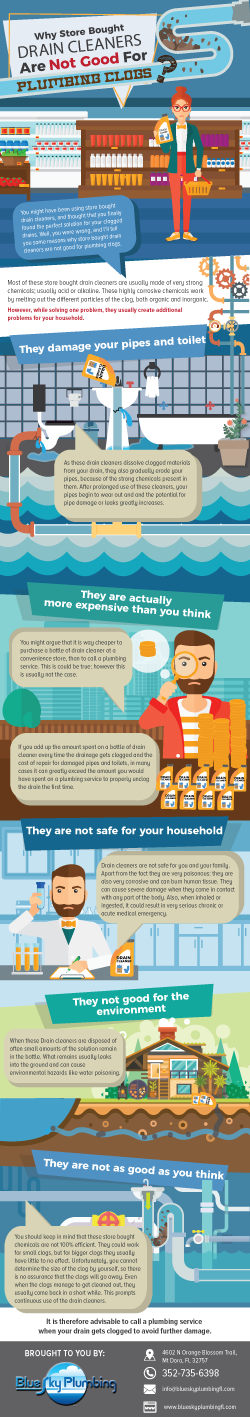 Infographic explaining Why Store Bought Drain Cleaners Are Not Good For Plumbing Clogs